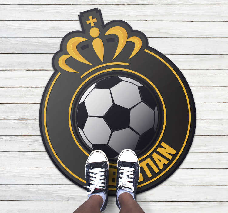 TenStickers. personalized football ball personalised vinyl rug. This personalized football ball vinyl rug with name is absolutely the best choice you can make for creating a really original atmosphere in your house
