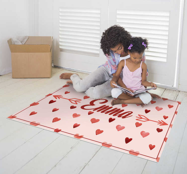 TenStickers. personalized hearts  vinyl rug. This personalized hearts kids vinyl rug with name is exactly what you need for making a great gift to your chilren! Sign up for 10% off!