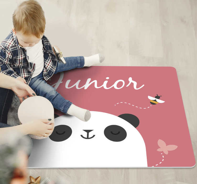 TenStickers. personalized panda personalised vinyl rug. This personalized panda kids vinyl rug  is exactly what you need to improve dramatically the aspect of your kid's bedroom!