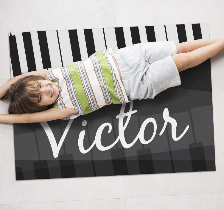 TenStickers. piano keys  personalised vinyl rug. Bring home this marvellous piano keys vinyl rug with name and get a really incredible object capable of completely change your house!