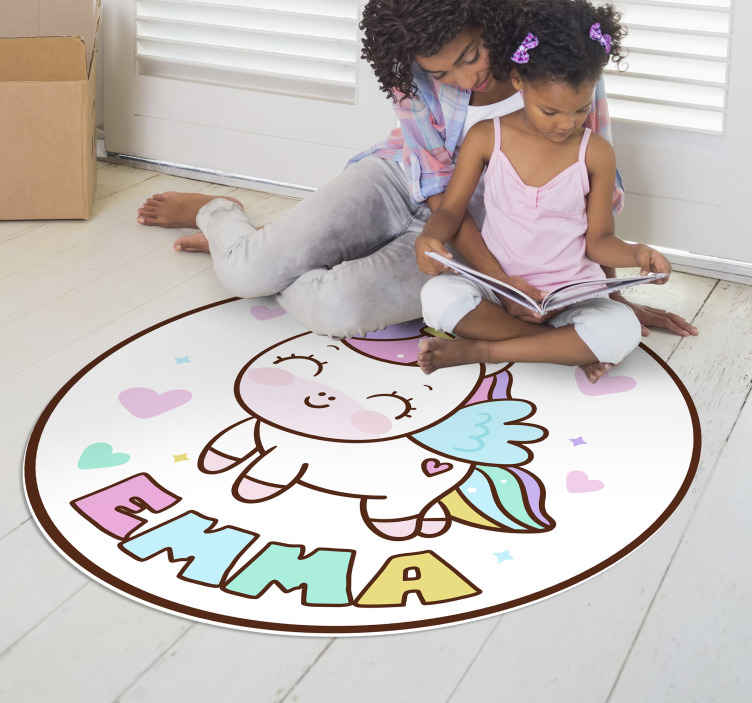 TenStickers. Unicorn girl personalised vinyl rug. Don't waste your time and bring in your home this fabulous unicorn girl vinyl rug  which is capable of changing completely your kid's bedroom!