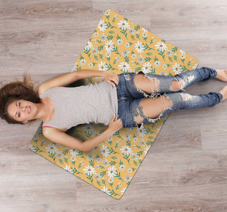 TenStickers. 70's Daisy flower yellow background vinyl living room rug. Use this 70's Daisy flower yellow background vinyl rug and you will see how simple can be improving the aspect of your house decor!