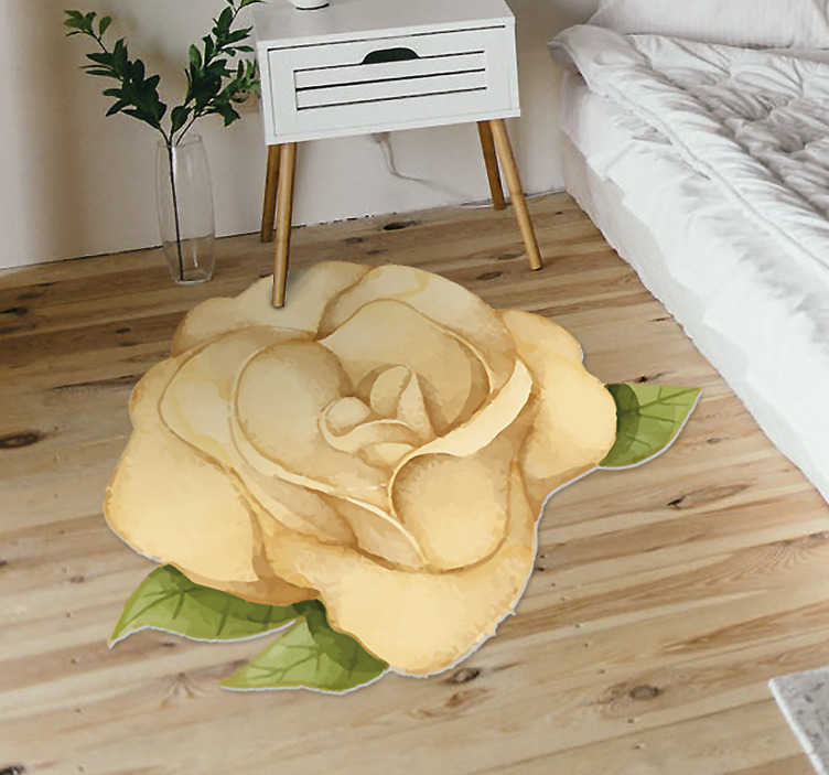 TenStickers. golden rose bedroom vinyl rug. This wonderful golden rose vinyl bedroom rug can be a fantastic way for changing radically the aspect of any room of your house!