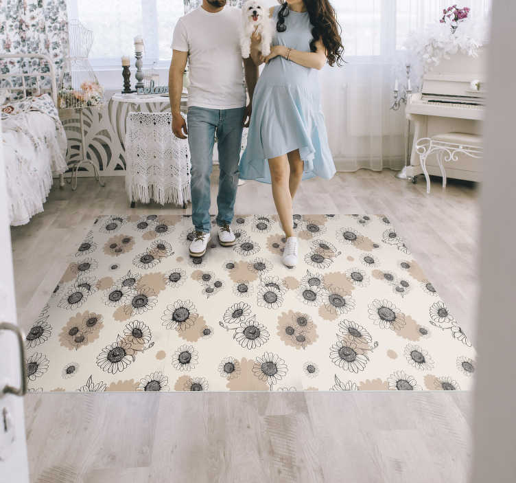 TenStickers. hand drawing vintage daisies bedroom vinyl rug. Get this hand drawing vintage daisies vinyl bedroom rug  in your house and shock all your guests! You can trust our extremely long-lasting material.