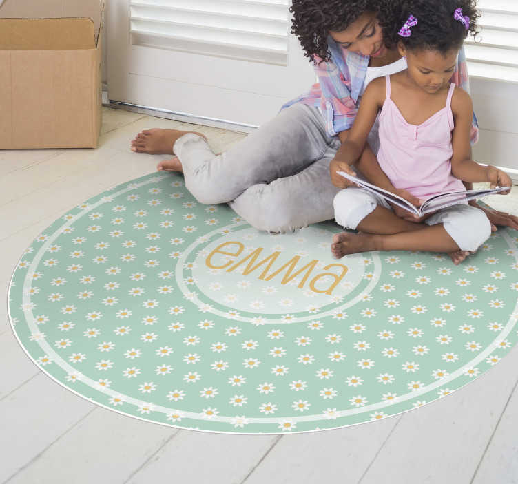 TenStickers. round daisies  personalised vinyl rug. This round daisies kids  vinyl rug with name is the gift you were looking for! Donate some beauty to your kids and make them incredibly happy!
