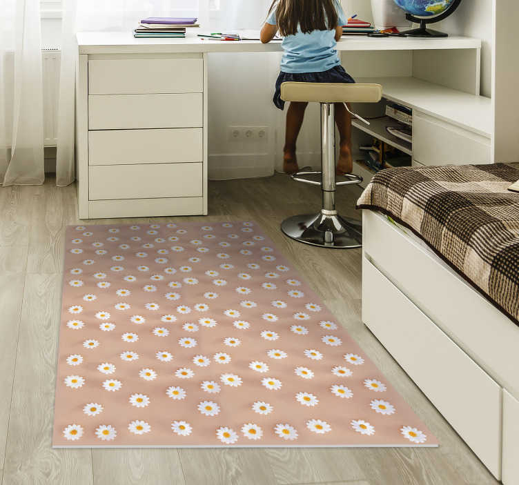 TenStickers. modern daisy pattern bedroom vinyl rug. Thanks to this gorgeous modern daisy pattern vinyl bedroom rug you have now the opportunity of changing drastically the way your house appears!