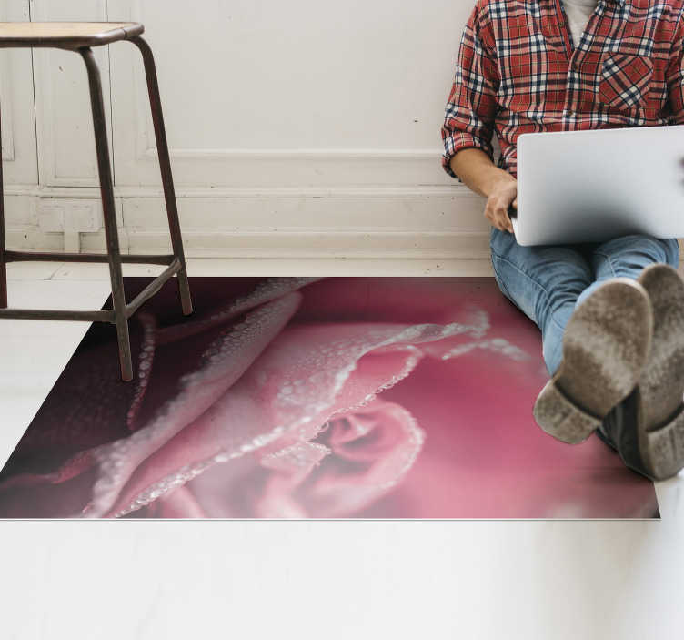 TenStickers. pink rose vinyl dining room rug. An amazing pink rose vinyl rug for dining room like this is the ultimate choice you can take for distinguished yourself for your originality!