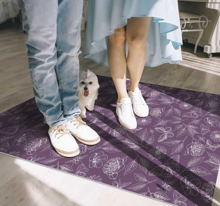 TenVinilo. Alfombra de vinilo con patrón flores vintage. ¡Esta fabulosa alfombra de vinilo vintage con diseño de flores es exactamente lo que necesita para cambiar drásticamente el efecto visual de su casa!