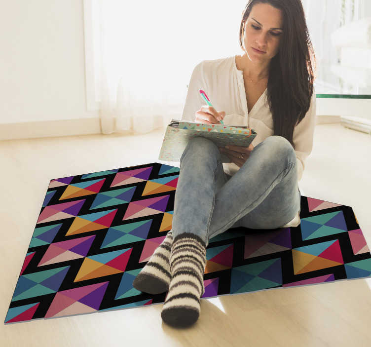 TenStickers. Colourful diamonds geometric vinyl carpet. Be the jewel of your own home and decorate your room with this spectacular diamond-shaped geometric vinyl rug filled with a colorful pattern.