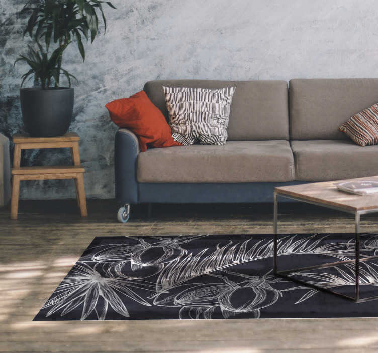 TenStickers. Palm leaves living room rug. Create a cozy atmosphere in your home with this magnificent modern vinyl rug with sketch design of palm leaves in white on a black background.