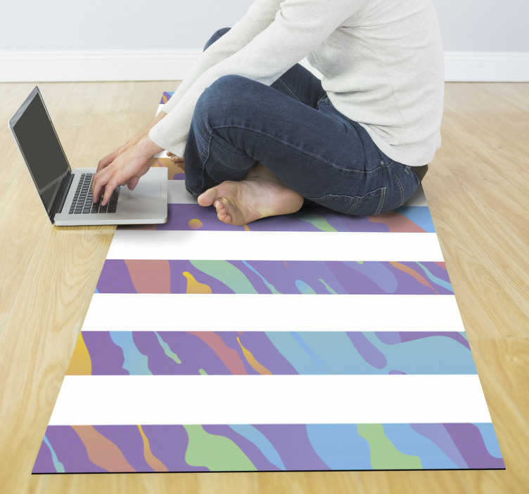 TenStickers. Pastel stripes minimal vinyl carpet. Bring color and life to your spaces without having to spend a lot of money, complementing your decor with this wonderful pastel striped vinyl rug.