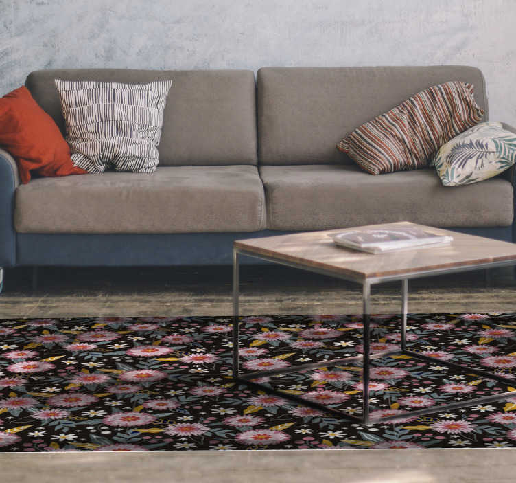 TenStickers. Retro flowers living room rug. With this floral vinyl rug with a retro flower pattern, you will have the perfect addition to your living room! Choose the perfect size.