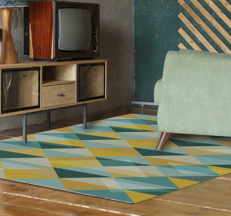 TenStickers. Story of triangles geometric vinyl carpet. Bring color and life to your home floor with this fantastic modern vinyl rug with a pattern of triangles in various shades of blue and yellow!
