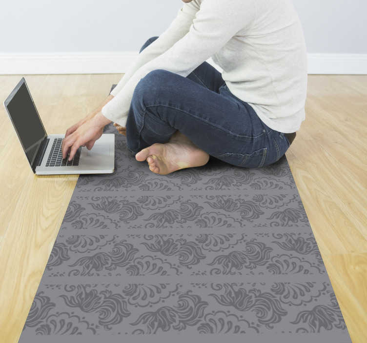 TenStickers. Subtle ornament gray vinyl carpet. Decorate your home with elegance and glamour with this magnificent vintage vinyl rug with a pattern of classic dark gray ornaments.