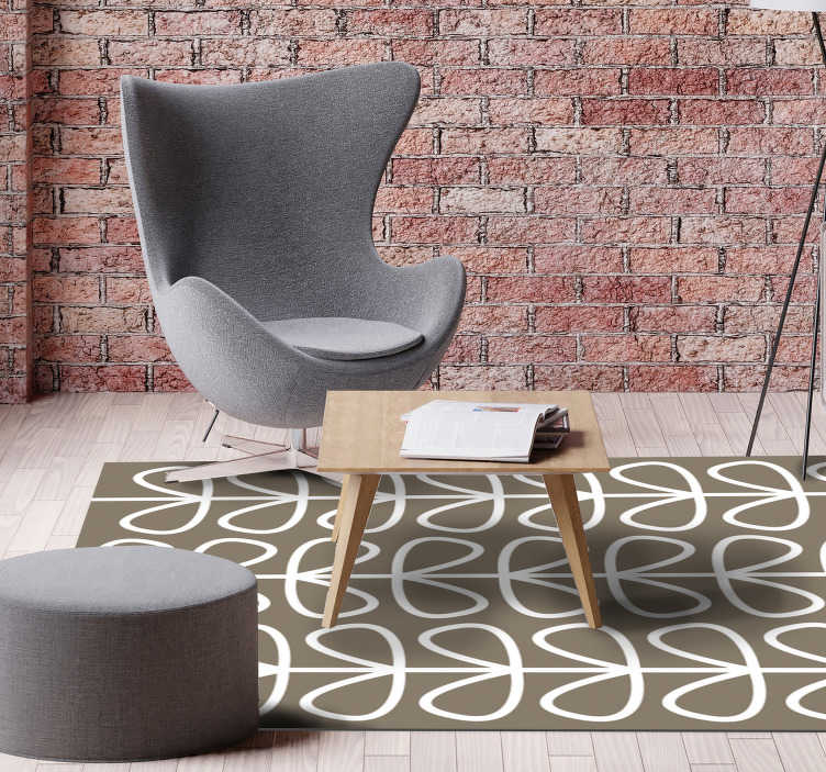 TenStickers. Beige leaves pattern ethnic vinyl carpets. Fantastic vinyl rugs beige leaves pattern to decorate the spaces of your home and office. High quality material and available in different sizes.