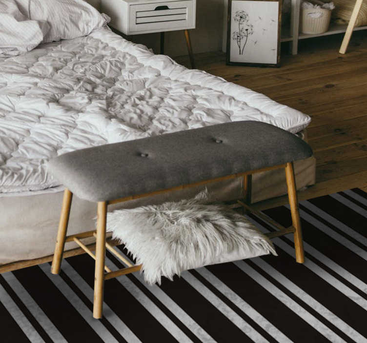 TenStickers. Black and white stripes  vinyl carpet. Vinyl rug black and white stripes is perfect for your home needs o for your office. Choose your size and order it with a simple payment.