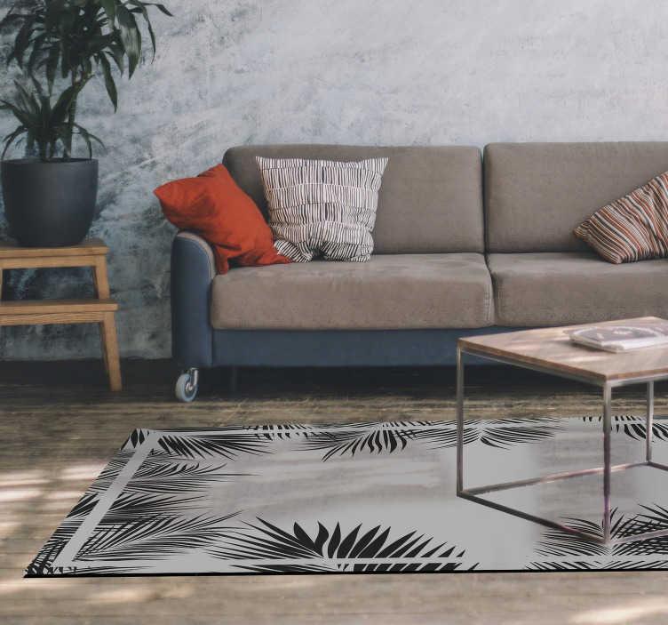 TenStickers. 蕨类图案客厅地毯. 乙烯基地毯蕨图案的客厅营造出自然而活泼的环境。优雅,并有各种尺寸可供选择。订购并在您的家中等待!