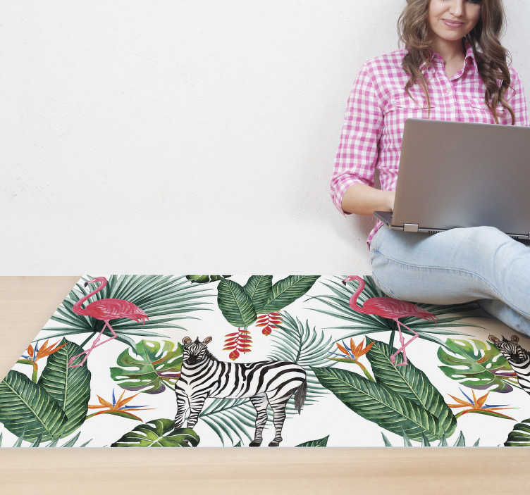 TenStickers. Flamingo & Zebra animal vinyl carpet. Bring a tropical and exotic touch to your home decor with this spectacular nature vinyl rug filled with zebras, flamingos, and tropical leaves.