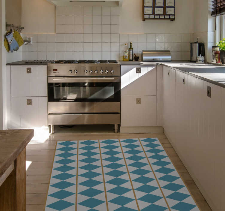 TenStickers. Sweden design geometric vinyl carpet. Make your home an original and creative space by complementing your decor with this wonderful ornamental vinyl rug with a Swedish style pattern.
