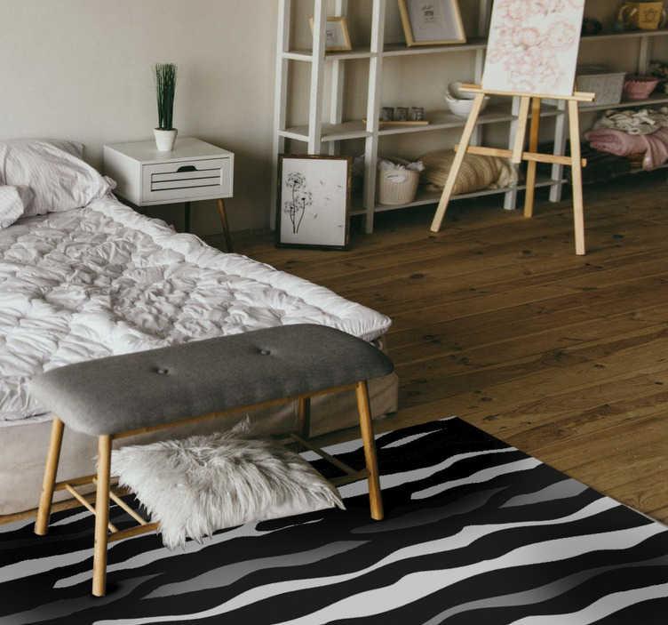 TenStickers. Tapete de vinil com estampa animal zebra. Gosta de padrões de animais? Então este tapete de vinil com estampa de animais é perfeito para si! Ficará ótimo na decoração do seu quarto.