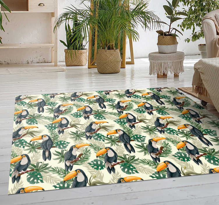 TenStickers. Toucan Paradise animal vinyl carpet. Check out this amazing new toucan vinyl rug that will bring you even closer to the rainforest! Buy now for an amazing deal!