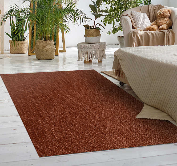 TenStickers. Natural fiber bedroom vinyl rug. This brown modern vinyl carpet in a rectangular shape will look great in your bedroom decor. A high quality product that will last many years.