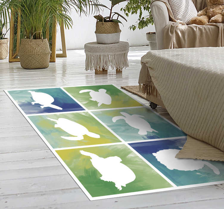 TenStickers. Colorfull turtle pack tile animal vinyl carpet. Here we have a unique animal vinyl rug with see turtle tiles. The combination of colors and the turtle tiles will remind you of your last holidays