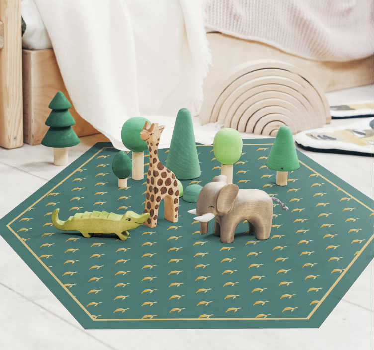 TenStickers. geometric turtle animal vinyl carpet. This animal vinyl rug with turtle is a really original product on which your kids will love to play.  Its hexagonal shape makes it unique and modern