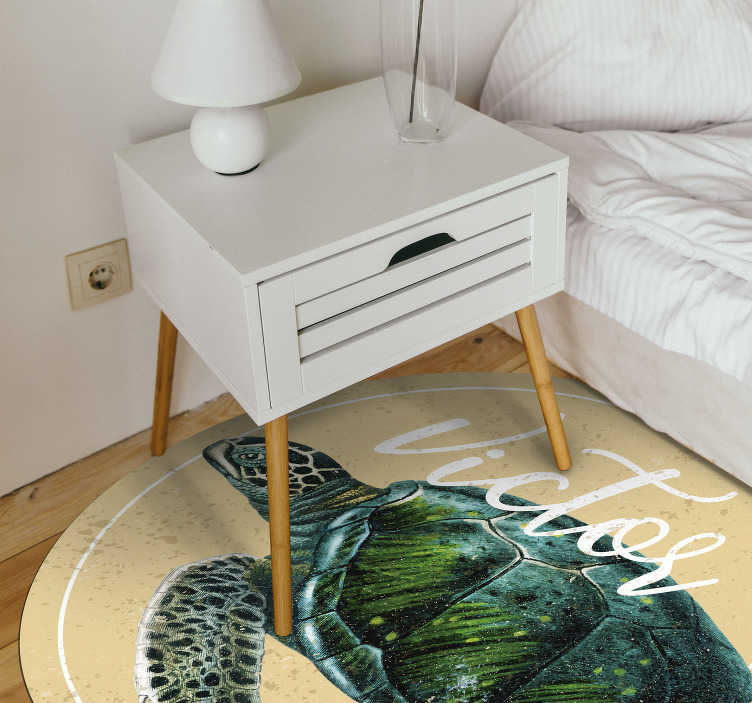 TenStickers. sea turtle with name personalised vinyl rug. Our amazing sea turtle vinyl rug can be customised with your kid's name, this unique colourful rug will bring a great atmosphere to your kid's room