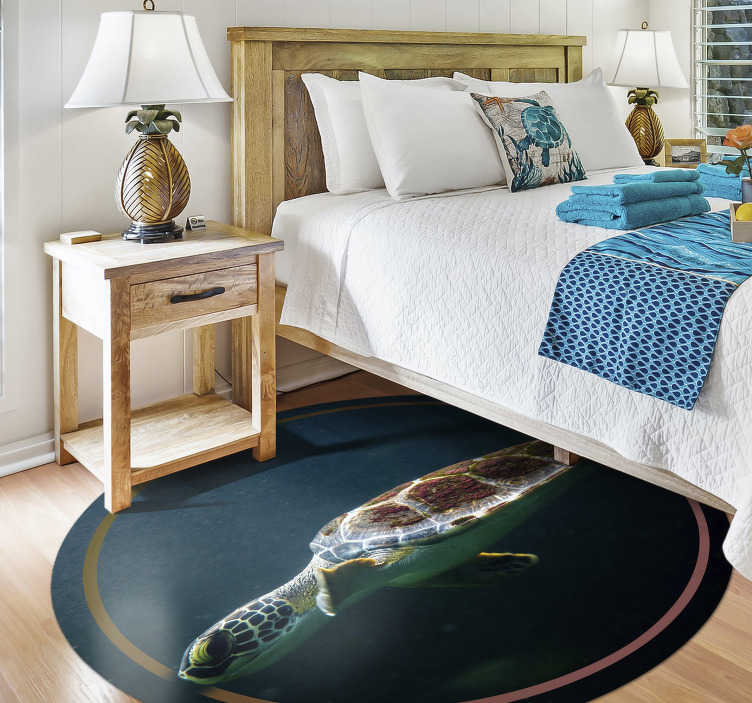 TenStickers. Swimming turtle animal vinyl carpet. An animal vinyl rug with a realistic image of a turtle swimming in the deep sea that will show your love for sea animals and your room more original!