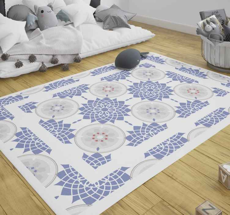 TenStickers. Blue tiles mandala vinyl carpet. Blue tiles mandala vinyl rug to decorate your space with an amazing beautiful touch. It is easy to use, anti-slippery and  easy to maintain.