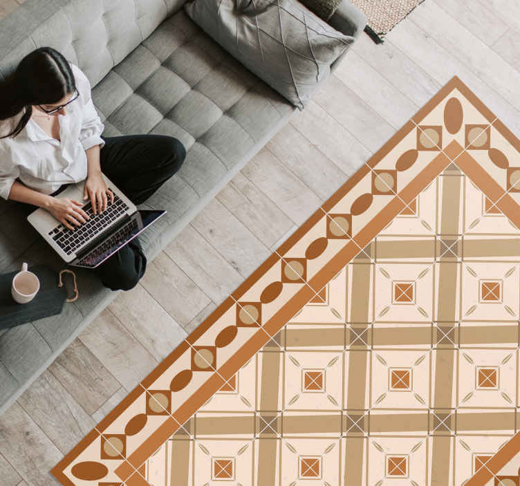 TenStickers. Portuguese tiles vinyl living room rug.  Portuguese tiles vinyl living room rug to enhance your space with detailed colorful squares . It is easy to use and maintain.