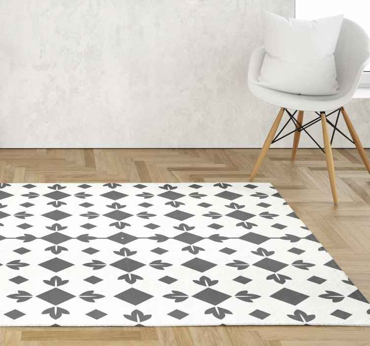 TenStickers. Black and white tiles vinyl dining room rug. Enhance your dinning room space in our original vinyl carpet tile pattern for a dinning room space. It is easy to use and maintain.