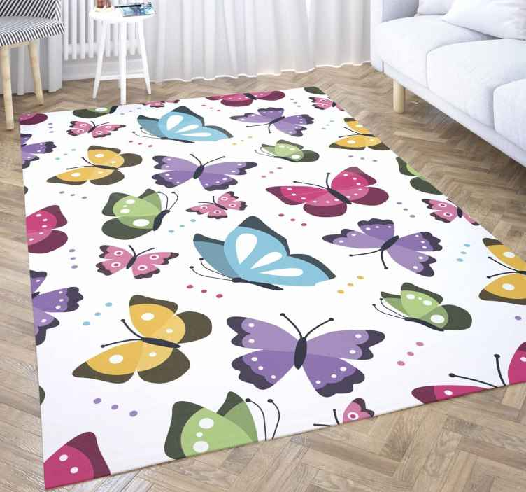 TenStickers. Butterfly animal vinyl carpet. A rectangular vinyl carpet to decorate your space with colorful attraction. This carpet is featured with colorful butterflied prints.