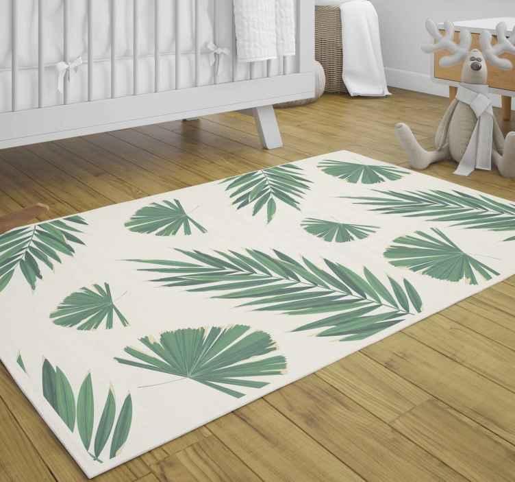 TenVinilo. Alfombra vinilica rectangular de hojas tropicales. Alfombra vinilo salón especial para ti con estampados de plantas para transformar un espacio con clase. Alta calidad ¡Envío a domicilio!