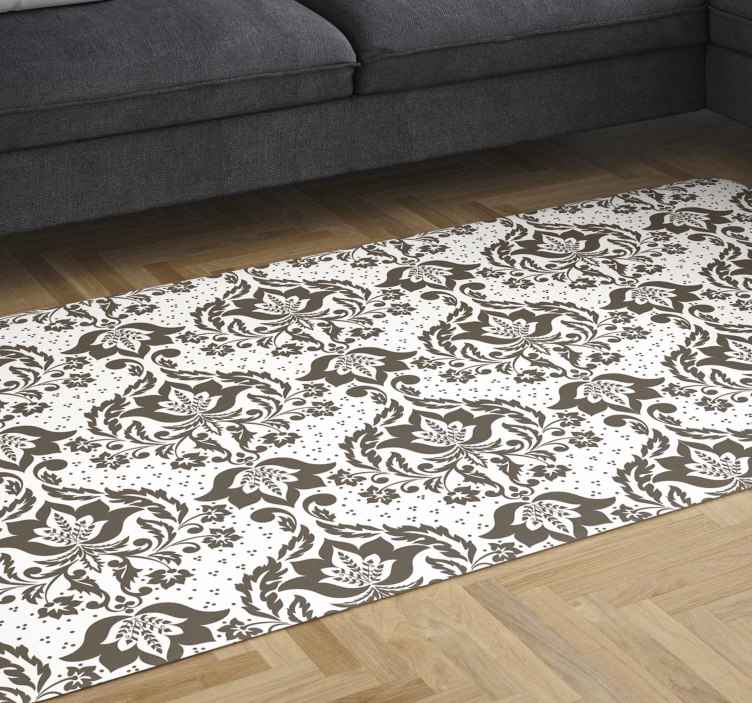 TenStickers. Ornamental flowers vintage vinyl carpet. Buy our easy to maintain vinyl rug for your space. It is printed with ornamental vintage flower pattern in brown colour texture.