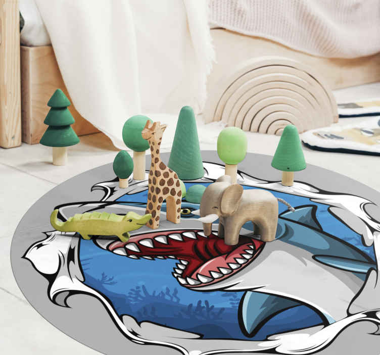 TenStickers. Big shark 3D animal vinyl carpet. Easy to clean vinyl carpet with a big 3D shark prints on it. It is easy to use, maintain and made of high quality material.