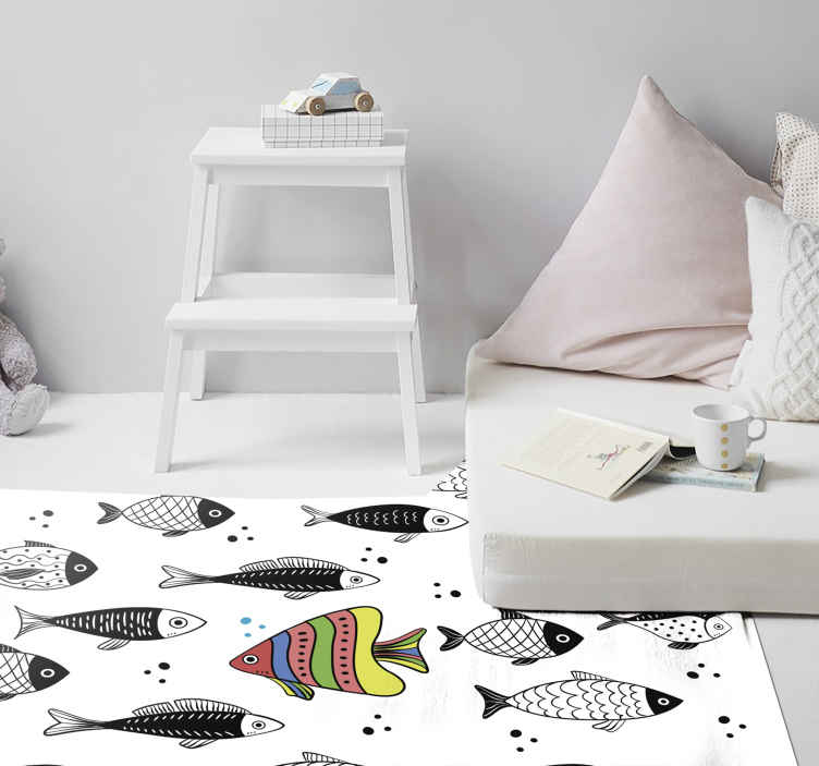 TenStickers. Counter flow animal vinyl carpet. A fantastic designed bedroom special vinyl rug with colorful fishes in a counter flow. It is easy to use and maintain and also of high quality.