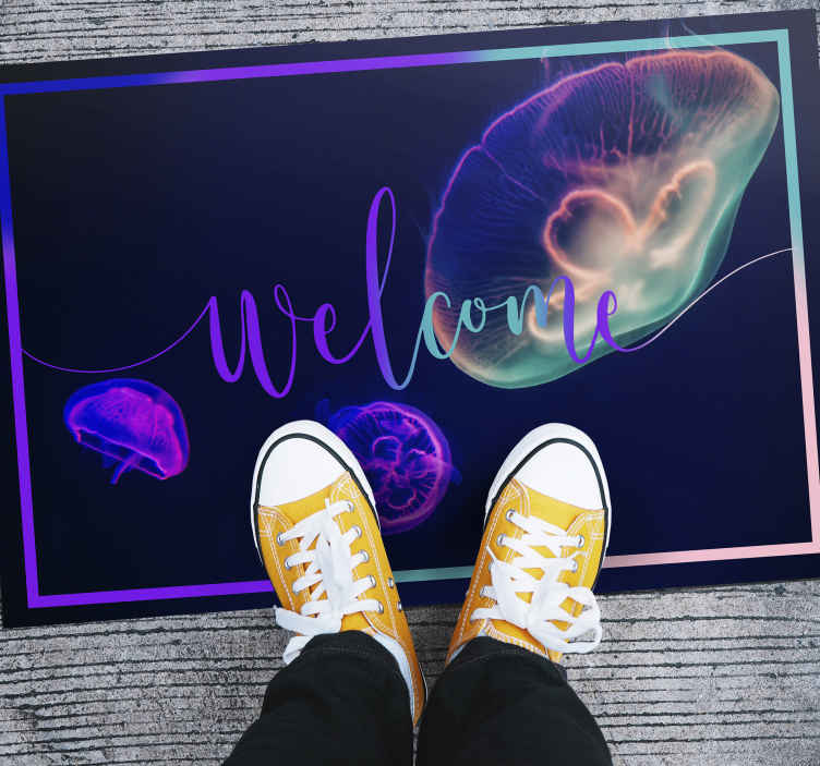 TenStickers. Multicolored Jellyfishes entrance hall vinyl rug. Colorful rectangular vinyl carper for your home space.  It is designed with colorful jellyfishes and it is easy to maintain and use.