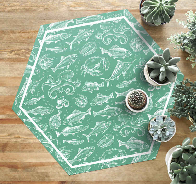 TenStickers. Sketch fish hand draw animal vinyl carpet. Hexagonal mint colour vinyl rug with prints of fishes for home and office use. It is easy to use and maintain and it does not cause allergy.