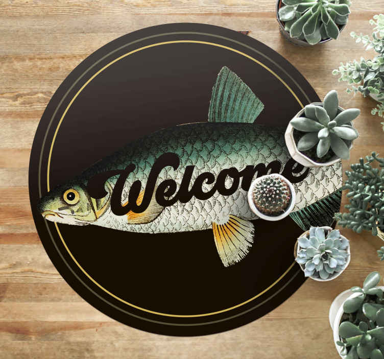TenStickers. Block Carp animal vinyl carpet. Round- trip vinyl rug featured with block carp and text  to improve any space of choice. Purchase it in any required size. It is easy to maintain.