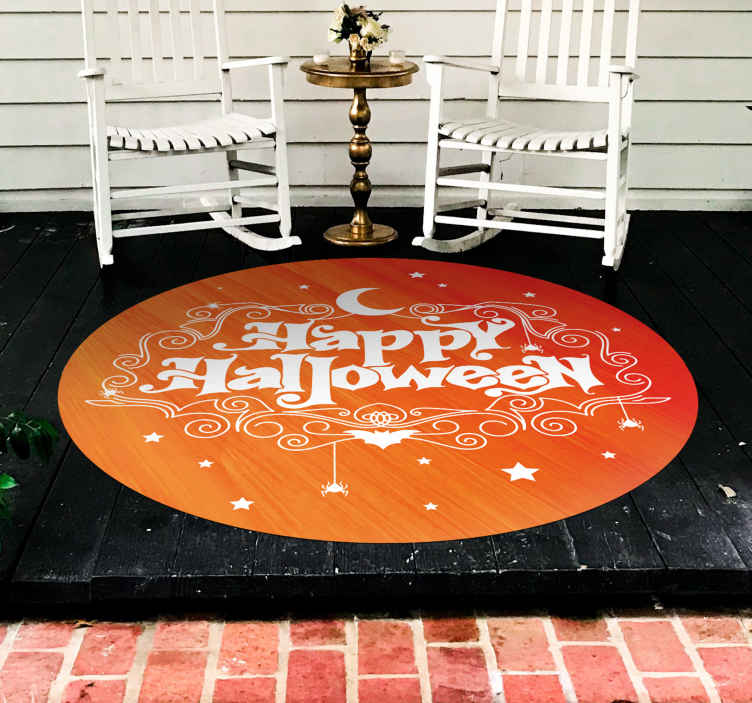 TenStickers. happy halloween entrance hall vinyl carpet. Buy our easy to maintain round-tip vinyl rug designed on an orange background with a ''happy Halloween'' text. Easy to clean and anti allergic.