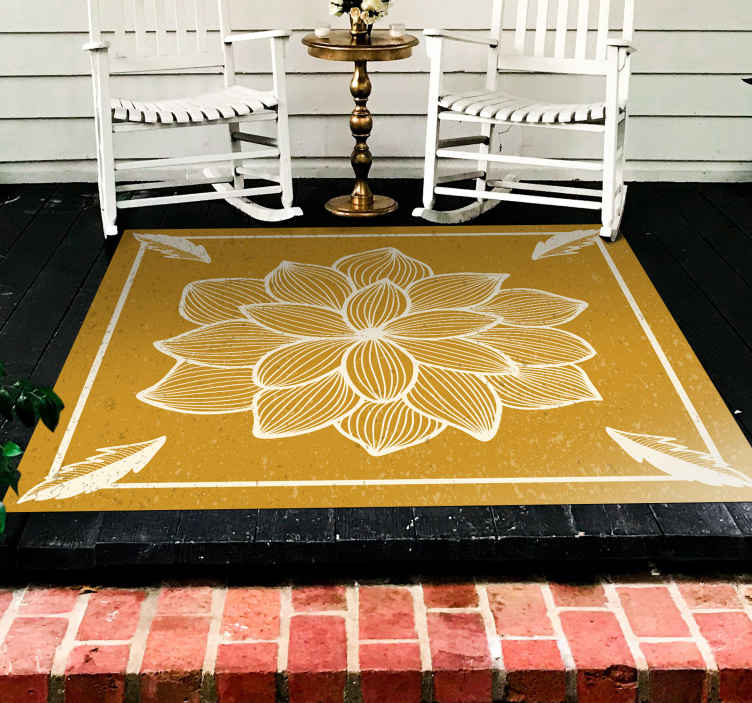 TenStickers. Floral flock paisley living room rug. Enhance your home floor space with our original ornamental flower pattern vinyl carpet . It is made of good quality and easy to clean.