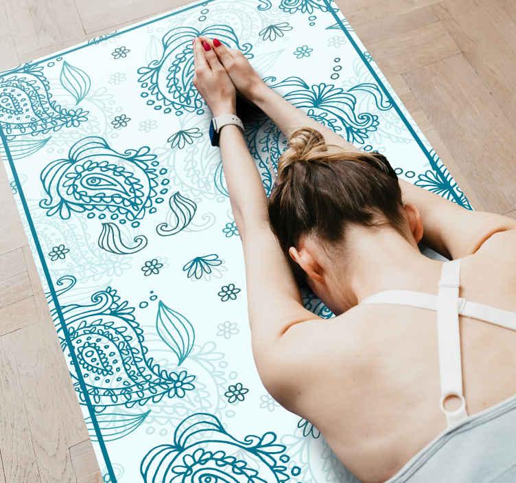 TenVinilo. Aflombra vinilo azul motivo floral paisley. Compre nuestra increíble alfombra de vinilo para habitación de diseño paisley para decorar su espacio de una manera increíble
