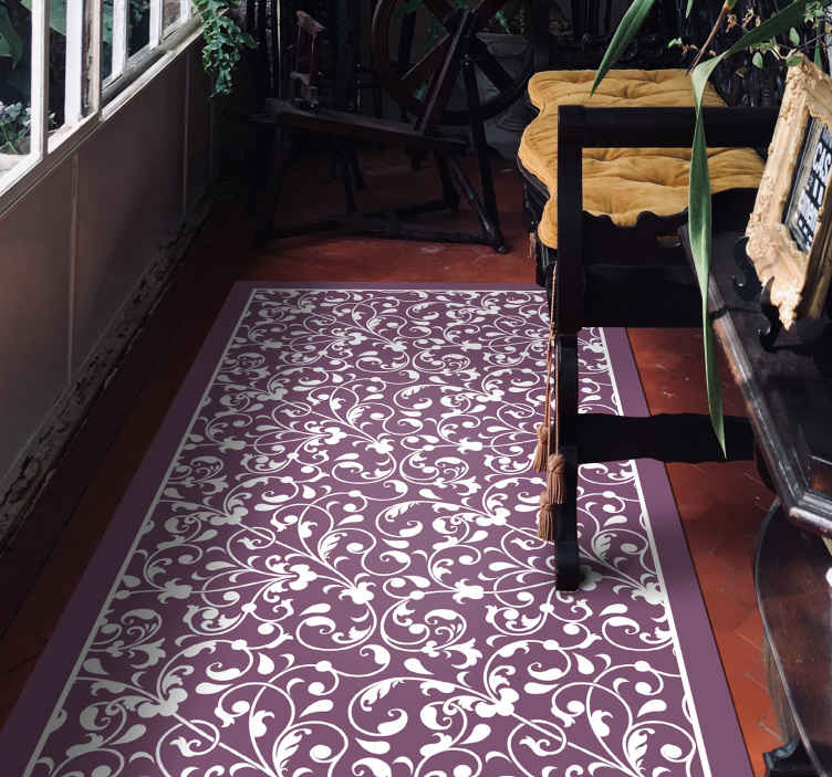 TenStickers. Ornamental leaf Paisley hall vinyl rug. Bring an original and beautiful decoration to your home in our amazing vinyl carpet. It is of good quality and easy to maintain.