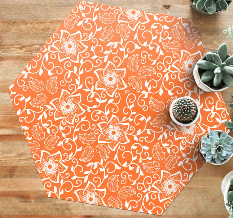 TenStickers. Paisley Flowers living room rug. Bring unique and modern touch to the home in our orange colour vinyl carpet with paisley design patterns. It is easy to clean.