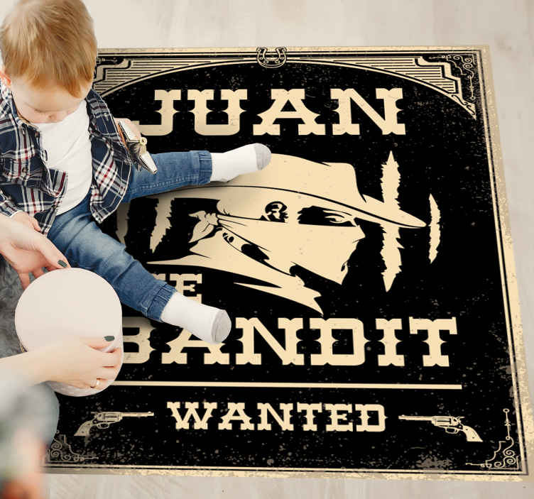 TenStickers. Bandit with name personalised vinyl rug. Customisable name cowboy bandit vinyl carpet that you can choose the measure of size you want. It is made of good quality and easy to clean.