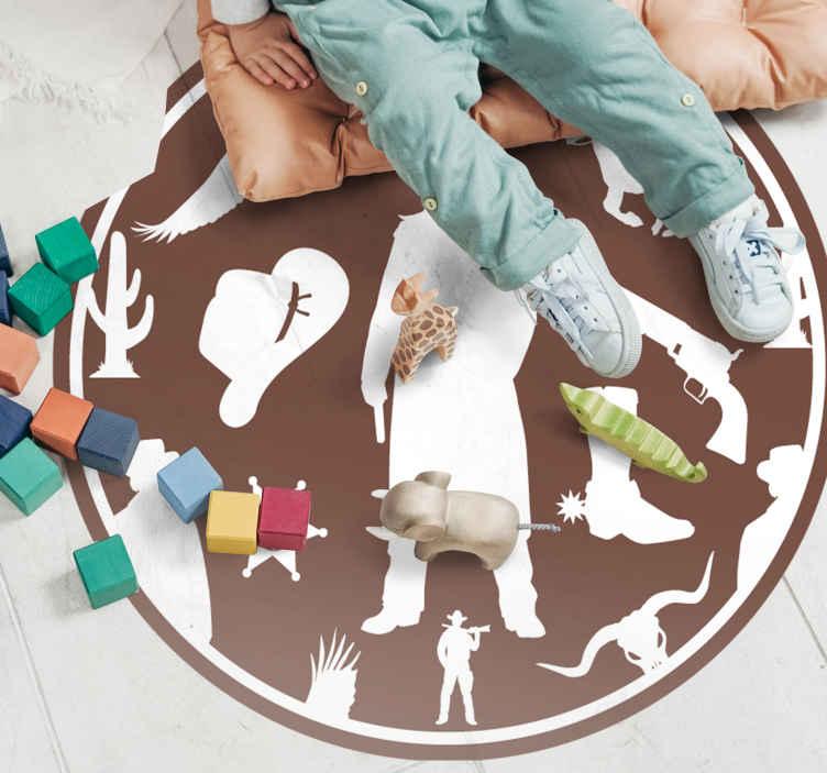TenVinilo. Alfombra vinilo infantil marrón patrón cowboy. Alfombra vinílica redonda diseñada con siluetas de vaquero. Es fácil de limpiar y la calidad es increíble ¡Envío a donicilio!