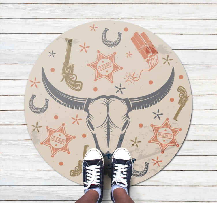 TenStickers. Cowboy elements pattern kids room vinyl rug. Amazing colorful vinyl rug that you can use to decorate the floor space of a kid's room.  It is made with high quality vinyl and very easy to clean.