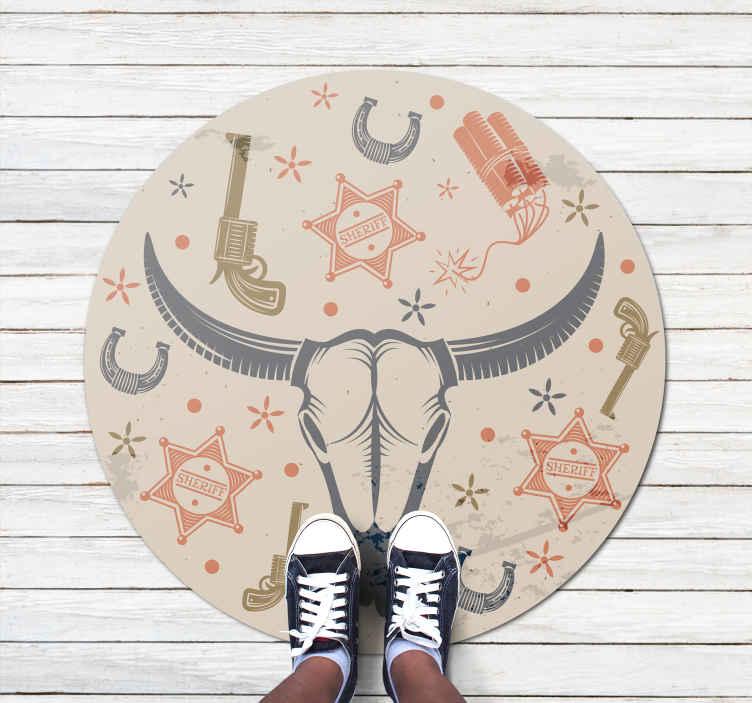 TenVinilo. Alfombra vinilo infantil beige patrón vaquero. Increíble alfombra vinílica redonda colorida que puedes usar para decorar la habitación de un niño. Diseño patrón cowboy ¡Envío a domicilio!